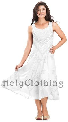 White Ivory Kayla Satin Embroidered Renaissance Princess Boho Sun Dress - White - Shop by Color - Dresses