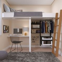 Loft Beds For Small Rooms, Small Room Design Bedroom, Small Apartment Bedrooms, Girl Bedroom Designs, Room Ideas Bedroom, Home Room Design, Loft In Bedroom, Cool Loft Beds, Small Loft Apartments