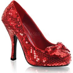 Funtasma Women's 'Oz-06' Red Sequined Bow Pumps ($55) ❤ liked on Polyvore featuring shoes, pumps, red, sparkly pumps, red sequin shoes, red platform shoes, bow pumps and sparkly shoes