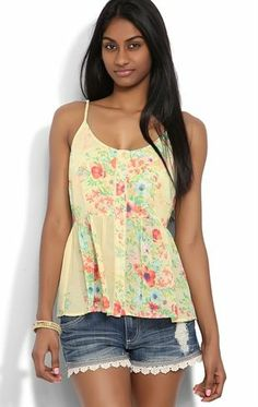 Deb Shops Peasant Tank Top with Floral Print and Button Front $12.67