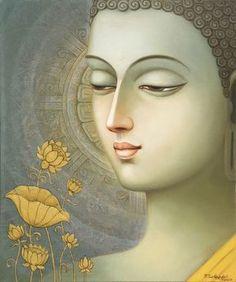 Buddha painting in oil & acrylic by Seshagiri Pamula. Dimensions: x 51 cm. Buddha Zen, Buddha Buddhism, Buddhist Art, Budha Painting, Ganesha Painting, Mural Painting, Buddha Drawing, Buddha Artwork, Indian Art Paintings