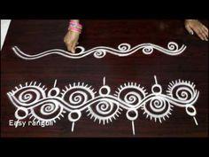 beautiful and creative side rangoli designs , kolam side Rangoli Side Designs, Rangoli Borders, Free Hand Rangoli Design, Small Rangoli Design, Rangoli Ideas, Rangoli Designs With Dots, Rangoli Designs Images, Rangoli Designs Diwali, Beautiful Rangoli Designs