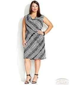 Calvin Klein Plus Size Sleeveless Pleated Dress Dresses Plus