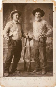 [Texas Rangers]. W. H. Putnam and Captain Phillips Cabinet Card, circa 1890s