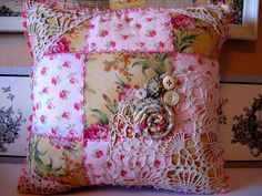 Patchwork and vintage lace pillow by askmichele on Etsy