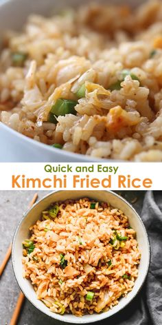 Fresh, bold, and flavorful Kimchi Fried Rice is a quick and easy Korean recipe that works as a side or main dish. Top it with a fried egg, serve it with chicken, or leave it as a healthy vegan dish. Shrimp And Rice Recipes, Rice Recipes For Dinner, Chicken Recipes, Fried Egg Recipes, Easy Korean Recipes, Asian Recipes, Healthy Recipes, Healthy Dinners, Healthy Japanese Recipes