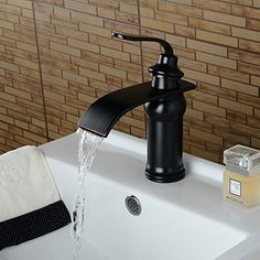 Wovier Oil Rubbed Bronze Waterfall Bathroom Sink Faucet,Single Handle Single Hole Vessel Lavatory Faucet,Basin Mixer Tap Finished Bathrooms, Glass Shade Pendant Light, Basin Sink Bathroom, Bathroom Sink Faucets, Black Faucet, Faucet, Best Bathroom Faucets, Sink, Basin