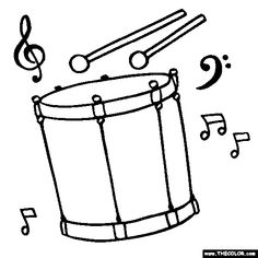 Musical Instruments Coloring Pages Truck Coloring Pages, Colouring Pages, Coloring Books, Music Cookies, Drum Lessons For Kids, Drum Craft, Free Online Coloring, Teaching Drawing, Simple Christmas Cards