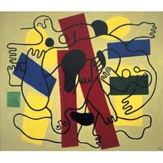 """Leger explained his intentions for the series of """"Divers"""" paintings, which he began around 1940: """"I tried to translate the character of the human body evolving in space without any point of contact with the ground. I achieved it by studying the movements of swimmers diving into the water from very high...."""" Fernand Léger, The Divers (Red and Black), 1942, oil on canvas, Dallas Museum of Art, Foundation for the Arts Collection, gift of the James H. and Lillian Clark Foundation"""