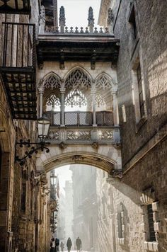 Carrer del Bisbe, Barcelona, Spain (Beauty World) Poster Architecture, Architecture Antique, Beautiful Architecture, Beautiful Buildings, Beautiful Places, Barcelona Architecture, Landscape Architecture, Gothic Architecture Drawing, Landscape Photography