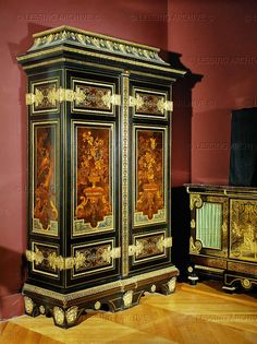 Boulle,Andre-Charles,furniture  Wardrobe,oakwood,covered with ebony and   mother-of-pearl inlay.Lead,tin,horn and coloured   woods,gilt bronze.