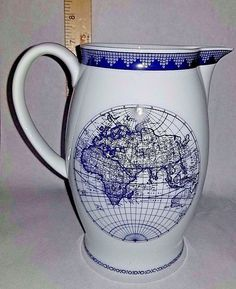 Mottahedeh RARE Navigational Earth Pitcher Large Jug Vista Alegre 1824 Portugal Pottery Creamer Milk Pitcher with highly detailed blue and white lettering. | eBay!