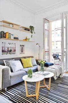Scandinavian style: Stripes, patterns, cool tones with a pop of yellow.