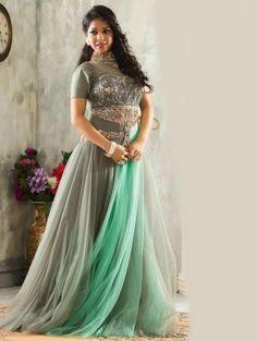 Grey Net Wedding Gown (Free Size)