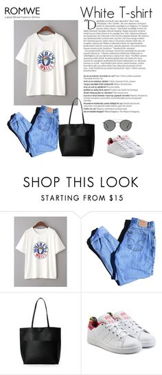 """""""Romwe contest : White T-shirt"""" by manuelsbolli ❤ liked on Polyvore featuring Balmain, Levi's, Street Level, adidas Originals and Ray-Ban"""