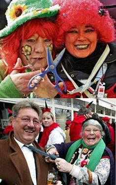 Am Donnerstag vor Beginn des Karnevals feiert man in Deutschland die Weiberfastnacht. Die Menschen, vor allem im Rheinland, verkleiden sich und feiern auf den Straßen und in den Bars. Aber Vorsicht: Die Frauen schneiden den Männern an diesem Tag die Krawatten ab! Das Abschneiden der Krawatte symbolisiert, dass die Männer an diesem Tag ihre Macht verlieren und die Frauen das Sagen haben.