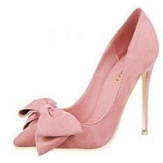 Chloe Pink Low-cut Bows Stiletto Heel Pumps ($70) ❤ liked on Polyvore featuring shoes, pumps, pink pumps, bow shoes, pink bow pumps, low cut shoes and pink stilettos