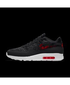 a522f0df940ec7 Nike Air Max 1 Mens Ultra Flyknit Id Black Red White Shoes Outlet