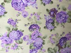 Yellow & Purple floral cotton fabric - 222043931738