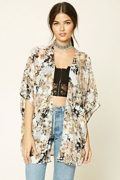 Forever 21 Contemporary - This woven kimono features an allover floral print, short dolman sleeves, and an open front.