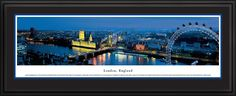 London Skyline Panoramic Picture Framed, England (Ferris Wheel)