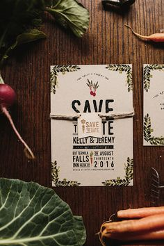 Rustic Farm to Table Watercolor Save the Dates by Wide Eyes Paper Co. / Oh So Beautiful Paper