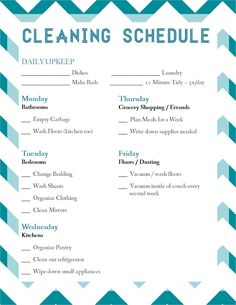 Laura Thoughts: Housekeeping cleaning schedule checklist