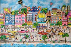 """South Beach"", Miami by Charles Fazzino. #3dpopart #popart (1995)"