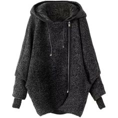Blackfive Asymmetric Hem Woolen Coat With Seamed Hood ($80) ❤ liked on Polyvore featuring outerwear, coats, jackets, tops, sweaters, grey, woolen coat, long wool coat, hooded wool coat and asymmetrical wool coat