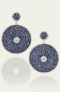 Tamsen Z by Ann Ziff - Blue Sapphire & Diamond Disc Earrings