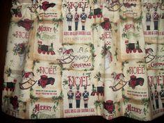Vintage Look Noel Christmas Nut Cracker Stocking Train Horse Toys fabric Valance #Handmade #Holiday