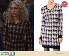 Carrie's patterned sweater dress on The Carrie Diaries. Outfit Details: http://wornontv.net/24597 #TheCarrieDiaries #fashion