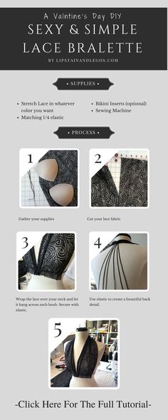 Make the perfect lingerie this Valentine's Day with this super-simple tutorial in under an hour. Click here for the full tutorial with lots of pictures.