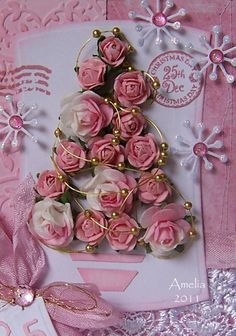 Lovely Shabby Pink Christmas Card