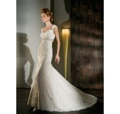 V Neck Sheath/Column Sweep/Brush Train Lace Wedding Dresses with Open back by Noviabridal.com