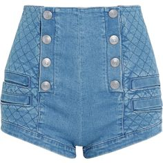 Pierre Balmain Button-detailed quilted stretch-denim shorts (5 890 ZAR) ❤ liked on Polyvore featuring shorts, bottoms, jeans, short, shiny shorts, high rise shorts, high waisted button shorts, loose fitting shorts and highwaist shorts