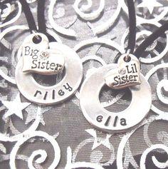 BIG Sister LITTLE Sister- Who Loves You the Mostest- Custom Hand Stamped Pendant Set - Best Seller