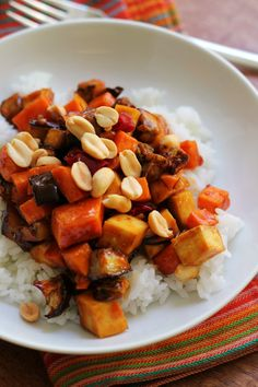 Crispy kung pao tofu and vegetable stir fry is a delicious vegetarian twist on this spicy Chinese take-out classic.