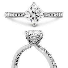Lux Bond & Green | HEARTS ON FIRE Dream Offset Signature Diamond Engagement Ring in 18k White Gold Fancy Gemstone