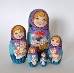 Collectible Russian Wooden Painted Matryoshka, Nesting doll, set 5 in 1