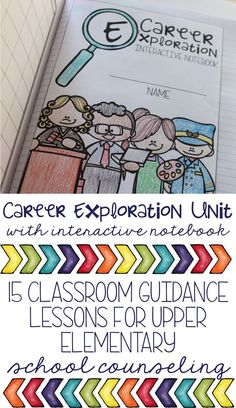 Career development classroom guidance unit for elementary school counseling: students explore career interests, values, strengths/skills, career clusters, education levels, and more! All interactive notebook pages included as well as handouts, power points, lesson plans, and more!