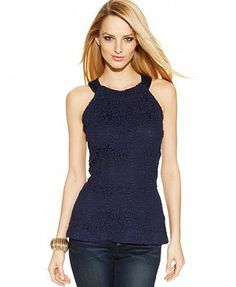 INC International Concepts Lace Peplum Halter Top