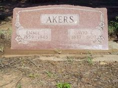 """David """"Davy"""" Crockett Akers and Ruth Emma """"Emmie"""" Isabell Penn Akers tombstone in Cave Creek Cemetery, Vinson, Harmon County, Oklahoma"""