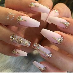beautiful pastel pink and rhinestones coffin nails