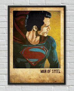 Superman Man of Steel inspired vintage movie poster by FlickGeek, $11.00