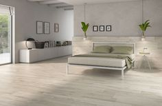 Minimal bedroom decor idea with Kingswood floor tile by Pamesa Ceramica.