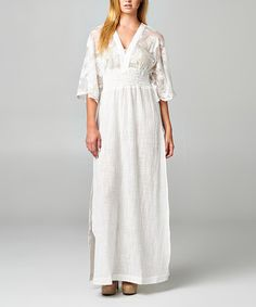 Look what I found on #zulily! Natural & White Lace Short-Sleeve Maxi Dress by Korai #zulilyfinds
