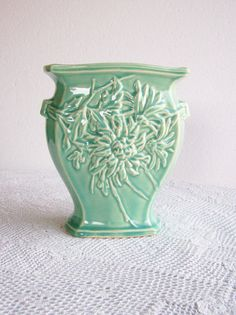 Vintage McCoy Pottery Vase Green Mums by AletaFordBakerDesign - 30.00