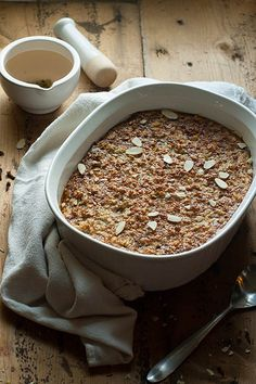 Cozy warm baked oatmeal filled with all the spices of a chai latte. Packed with eggs and greek yogurt for the healthy part and then covered in honey and butter to keep it all in balance.