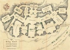 """The """"architectural plan"""" for Bag End, the earth sheltered home of Bilbo Baggins as can be seen in """"The Hobbit"""", created by Daniel Reeve."""